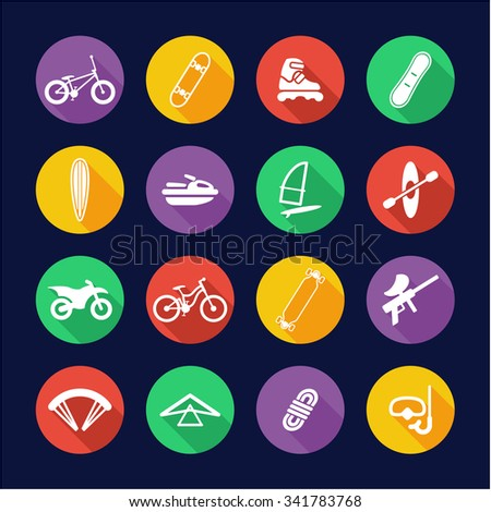 Xtreme Sports Icons Flat Design Circle - stock vector