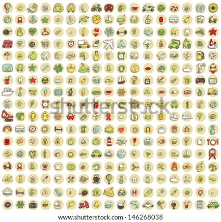 XXL Collection of 289 doodled icons for every occasion No.3 with shadows, on background, in colours. Individual illustrations are isolated and in eps10 vector mode. - stock vector