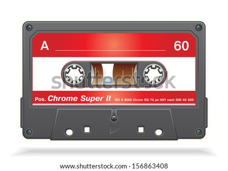 XXL icon of Vector audio cassette tape - stock vector