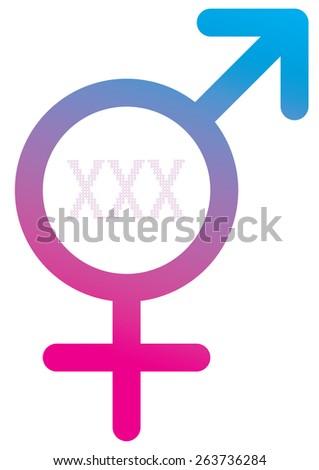 XXX Purple Hearts Pattern Male Female Symbol vector illustration background  - stock vector