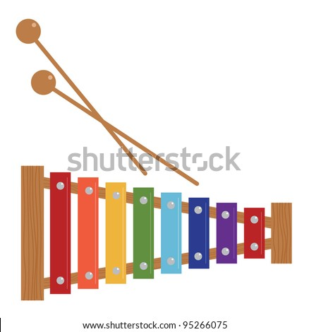 Xylophone, musical instrument for kids,vector - stock vector