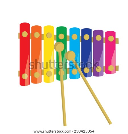 Xylophone, xylophone isolated, musical instruments, percussion, kids xylophone - stock vector