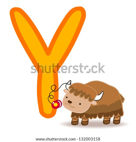 Y for yak and yo-yo. Letter for funny alphabet. - stock vector