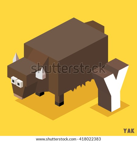 Y for Yak, Animal Alphabet collection. vector illustration