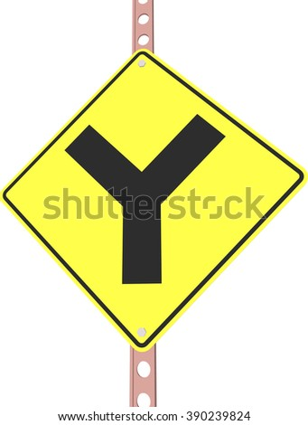 Y intersection - 3d illustration of yellow roadsign isolated on white background - stock vector