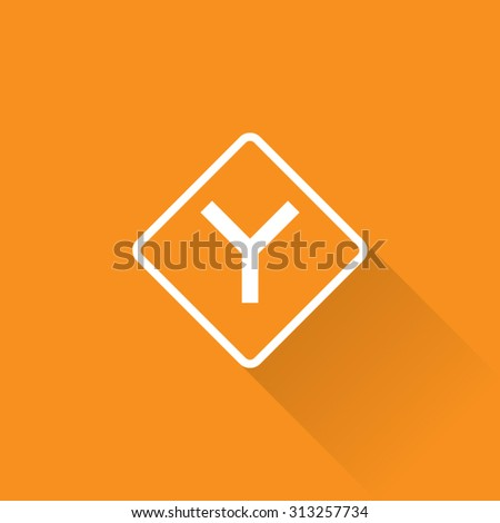 Y Intersection Sign - stock vector