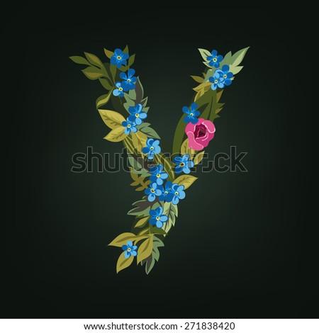 Y letter. Flower  alphabet. Colorful font. Lowercase.  Vector illustration. - stock vector