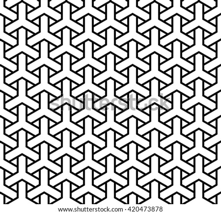 Y tiles seamless pattern, islamic texture, weaving background - stock vector