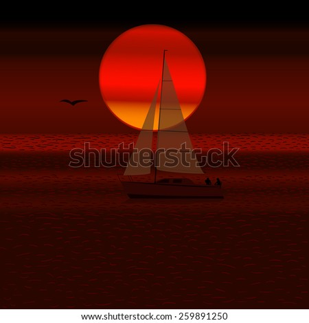 Yacht at sunset. - stock vector