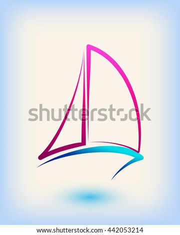 Yacht club emblem vector logo templates. Yachts silhouettes. Vector line yachts icon, vector illustration. Yachting and regatta symbols - stock vector