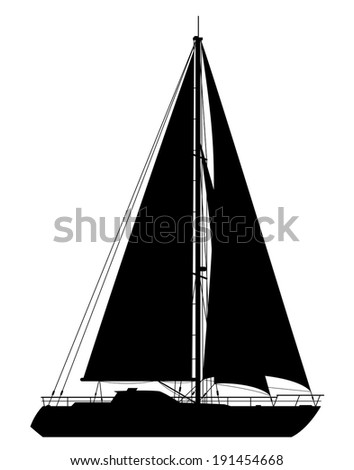 Yacht. Detailed vector illustration of black yacht isolated on white background. - stock vector