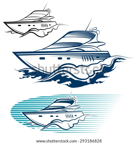 Yacht Emblem Set. Motor speedboat and wave. Isolated on white background. - stock vector