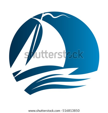 Yacht floats on the waves vector