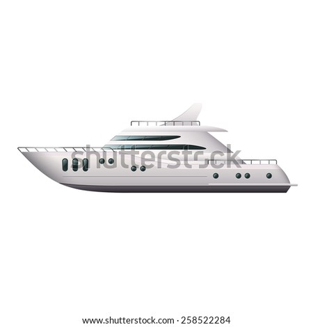 Yacht isolated on white photo-realistic vector illustration