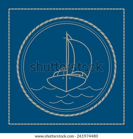 Yacht ,marine emblem with sailboat, retro ornament sailing ship, vector illustration - stock vector