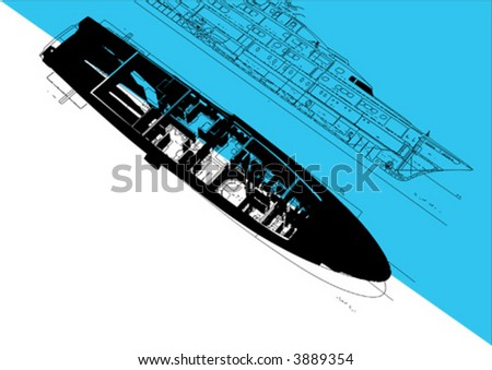 yacht plan - stock vector