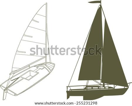 Yacht sailing the ocean - stock vector
