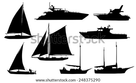 yacht silhouettes on the white background - stock vector