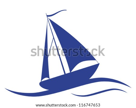 Yacht vector illustration.