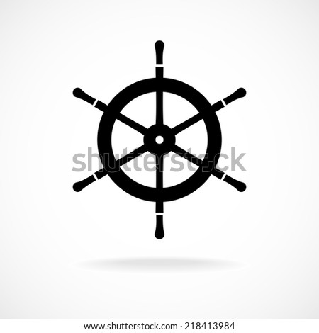 Yacht wheel symbol. Helm silhouette. - stock vector