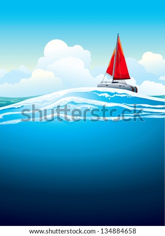 Yacht with red sail and sea waves on a blue sky background with white clouds. Vector seascape.