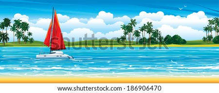Yacht with red sail crossing on a river. Nature tropical landscape. - stock vector