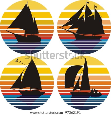 yachting and sailing - stock vector