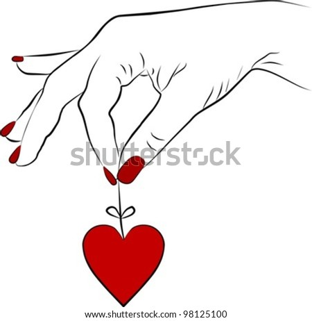 yang woman hand removing a heart, vector illustration - stock vector