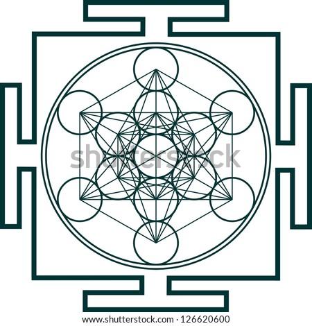 Yantra - Metatrons Cube - Flower of life - stock vector