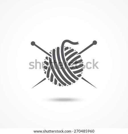Yarn ball and needles icon - stock vector