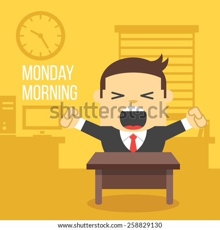 Yawning office worker. Monday morning concept. Creative office background. Flat style design vector illustration. - stock vector