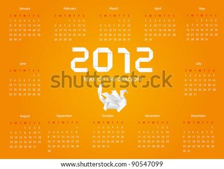Year 2012 calendar Vector - stock vector