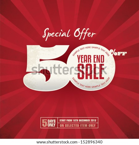 Year End Sale Poster - stock vector