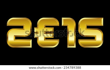 year 2015 - golden numbers with euro currency symbol - stock vector