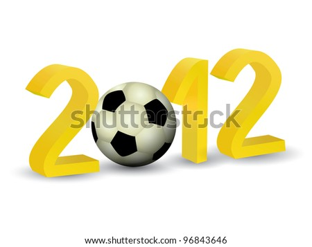 Year 2012 in 3D with soccer football - stock vector