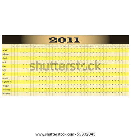 Year Long Calendar for 2011 with space for notes