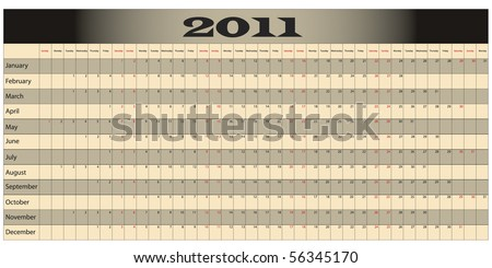 Year Long Calendar with weekends highlighted in red - stock vector