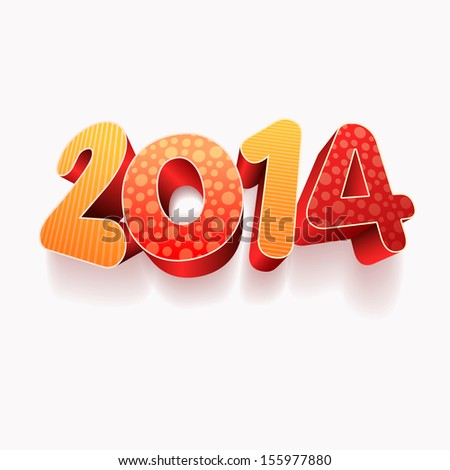 Year 2014! New year design template. All elements are layered separately in vector file. Easy editable. - stock vector