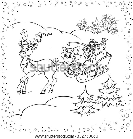 Year of red monkey. Deer antlered harnessed to sled driven monkey. Monkey carries gift bag. Forest road with snowdrifts. Fir trees in snow. Greeting card. Children's vector illustration. Coloring book - stock vector