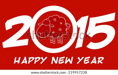 Year Of Sheep 2015 Numbers Design Card With Sheep And Text. Vector Illustration