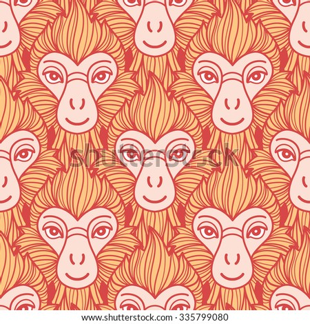 Year of the fire or red monkey 2016 seamless vector pattern. Chinese zodiac symbol. Colorful repeating monkey heads with fire looking hair. New Year background. Red and orange colors. - stock vector