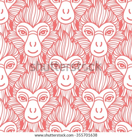 Year of the fire or red monkey 2016 seamless vector pattern. Chinese zodiac symbol. Repeating monkey heads with fire looking hair. New Year background. - stock vector