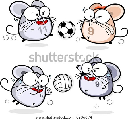 Year of the Rat Cartoon Emoticon Series - Soccer and Volleyball - stock vector