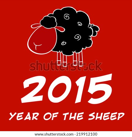 Year Of The Sheep 2015 Design Card With Black Sheep. Vector Illustration