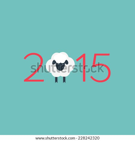 Year of the Sheep 2015. Vector chinese zodiac christmas background. Flat design - stock vector