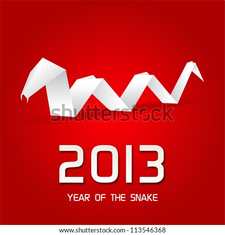 Year of the Snake design origami snake / New Year's Eve greeting card with  origami snake / 2013 Chinese Year of the Snake - stock vector