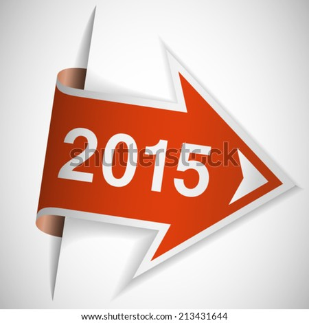 Year 2015 on red arrow - stock vector