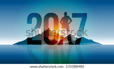 Year 2017 outdoor concept greeting design. Elements are layered separately in vector file.