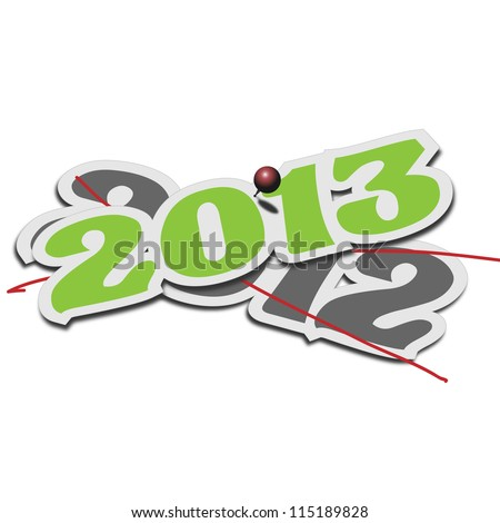 Year 2013 over old 2012 deleting it The change of new year 2013 on top of the old one 2012 - stock vector