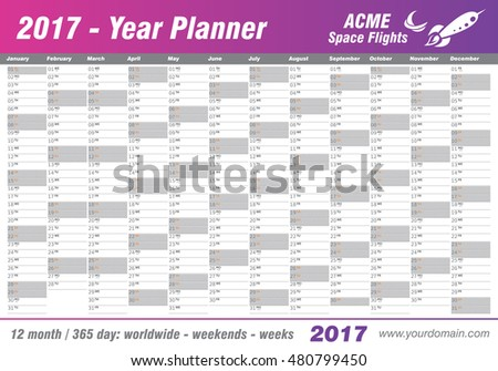 Year Planner Calendar 2017 - International worldwide printable organizer planner scheduler - with dates, days of the month - space for personal notes. Week starts Monday. Magenta pink, purple vector.